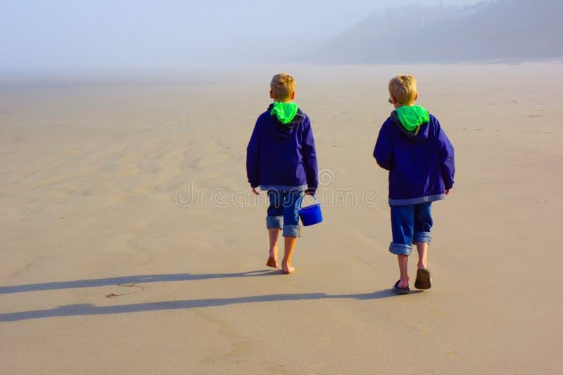 Pojkar undersöker stranden med sandhinken arkivfoton