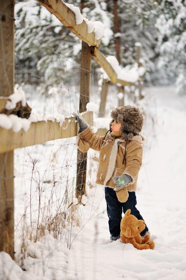 Pojke bara i vintern i skogen royaltyfri bild