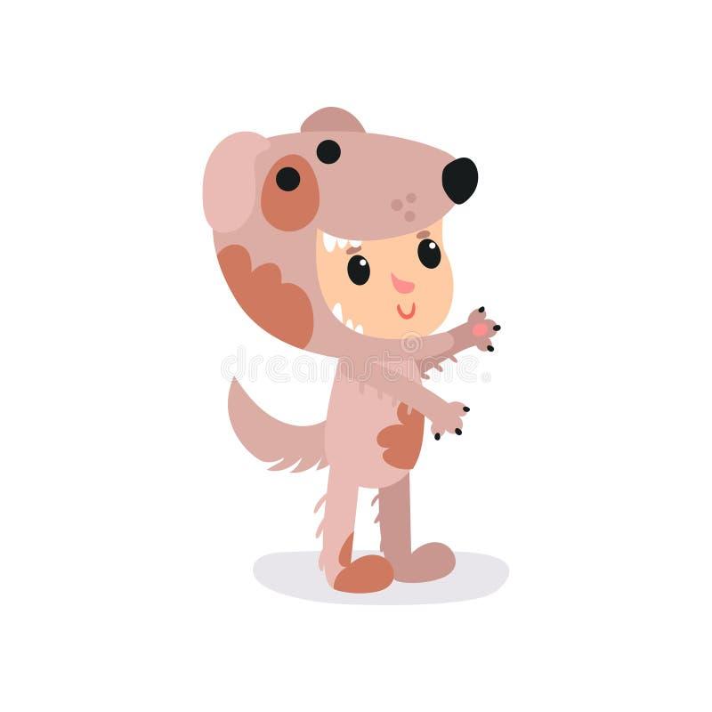 Pojke- eller flickatecken i förtjusande brun valpdräkt Tecknad filmbarn i rolig djur dräkt Isolerad plan vektor för bok royaltyfri illustrationer