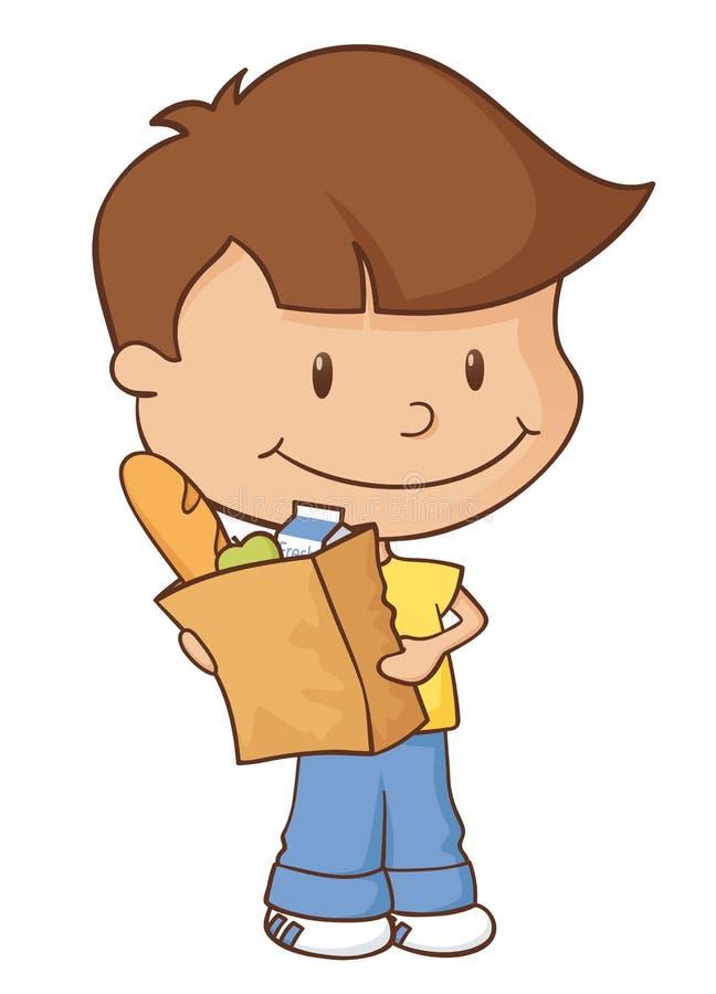 Pojke för livsmedelsbutikshopping royaltyfri illustrationer