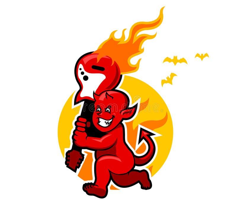Pojke för röd jäkel och flammande gitarr stock illustrationer