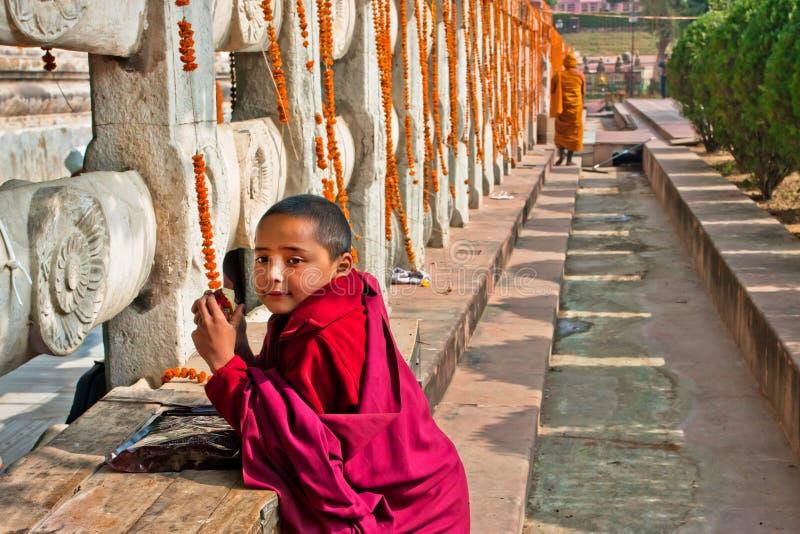 Pojke från leken för buddistisk kloster nära vikarierna royaltyfria foton