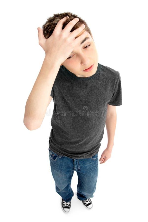pojke frustrerat belastat trött bekymrat royaltyfri fotografi