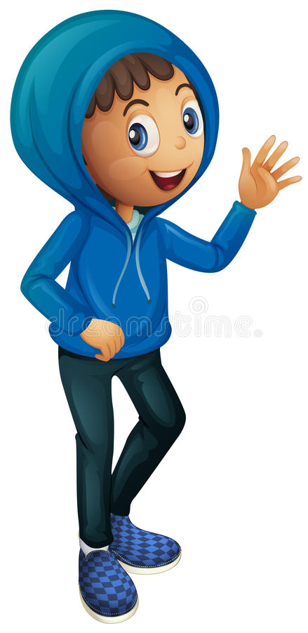 Pojke i blåttvinteromslag stock illustrationer