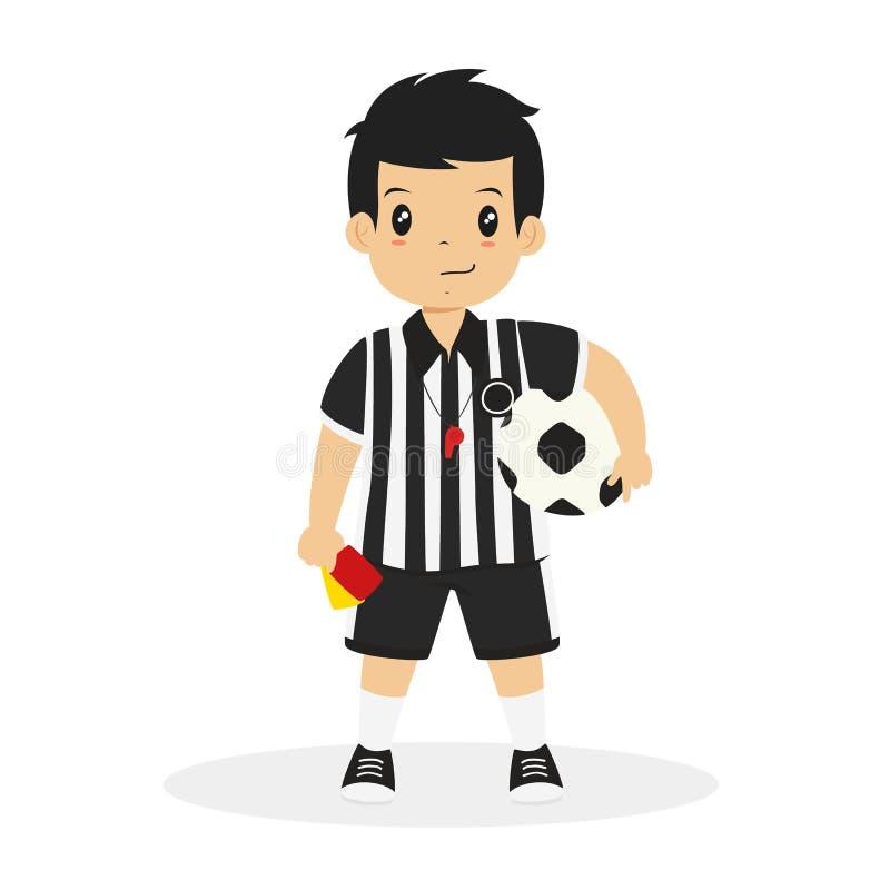 Pojke i fotbolldomaren Jersey Cartoon Vector royaltyfri illustrationer