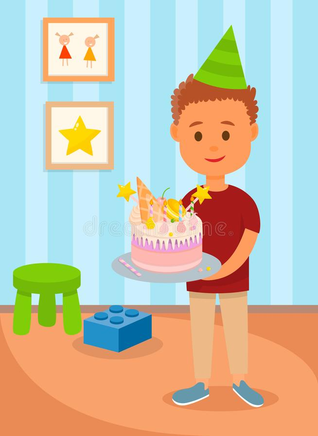 Pojke i kaka för födelsedaghattinnehav i ungerum royaltyfri illustrationer