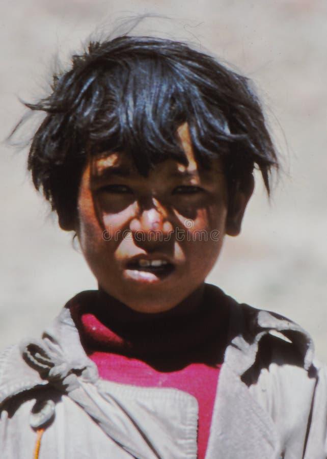 Pojke i Ladakh, Indien arkivfoto