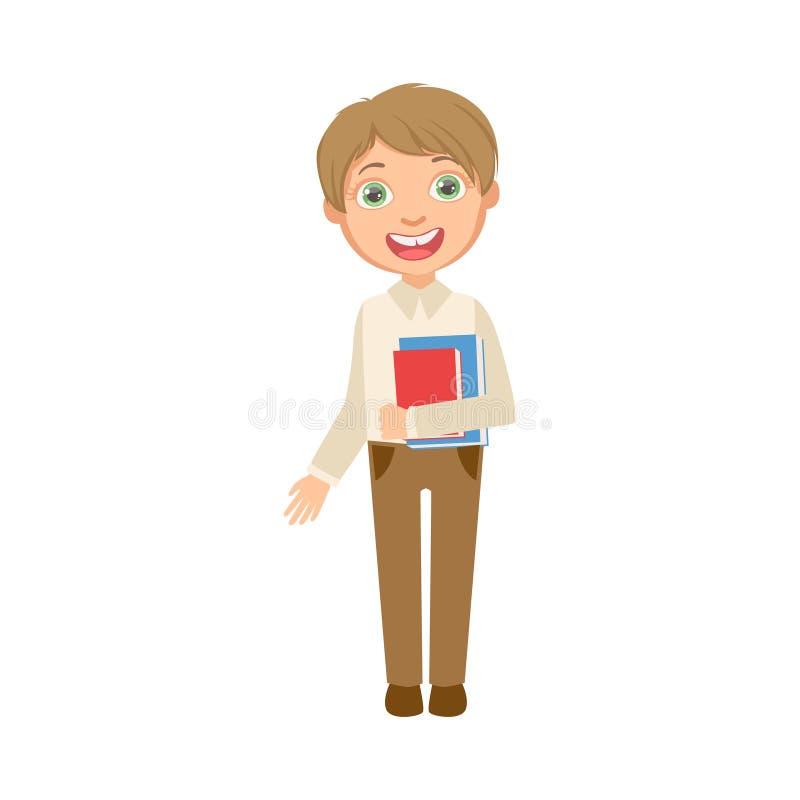 Pojke i lyckligt skolbarn för brun byxa och för vita västinnehavböcker i anseende för skolalikformig och letecknad film vektor illustrationer
