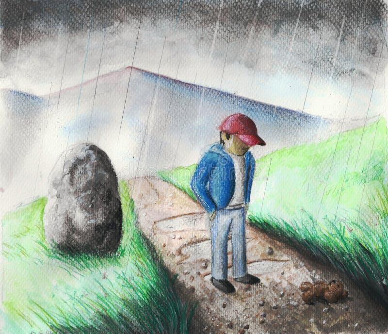 Pojke i regn arkivfoton
