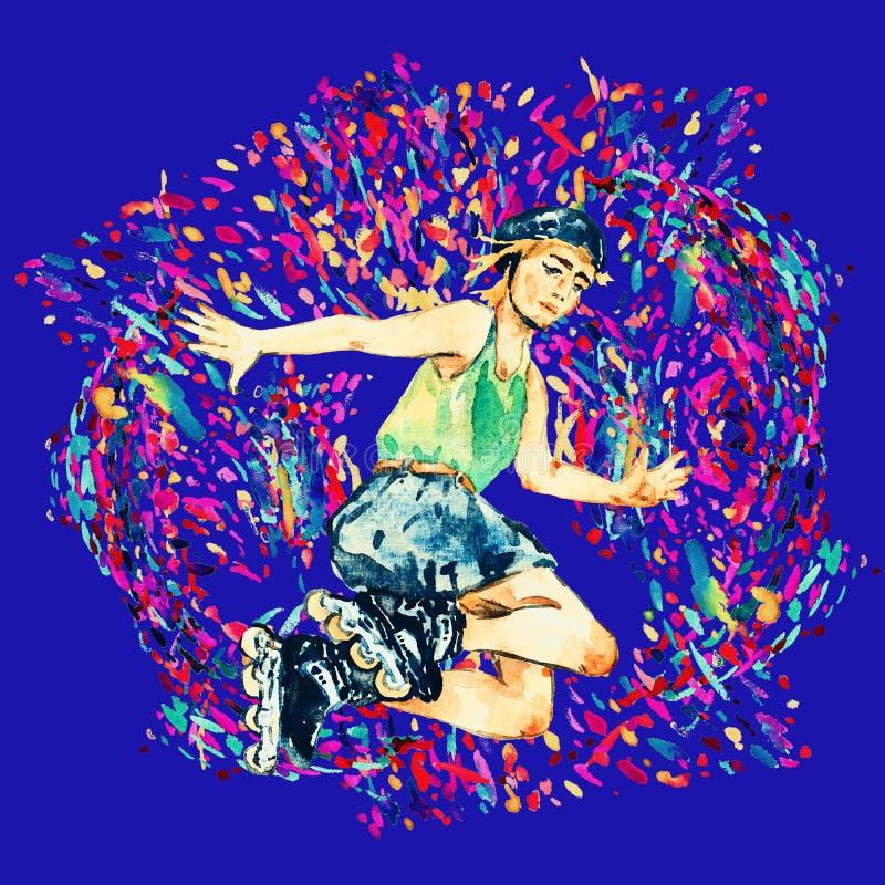 Pojke i rullskridskor och hjälmbanhoppningen, ljus färgstänkbakgrund på blått stock illustrationer