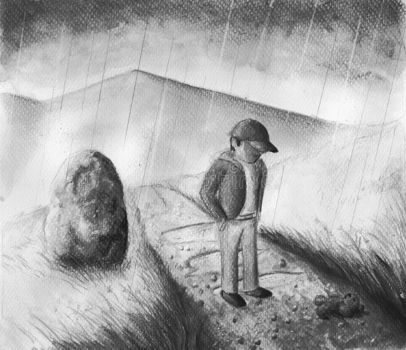 Pojke i svartvitt regn - royaltyfri fotografi