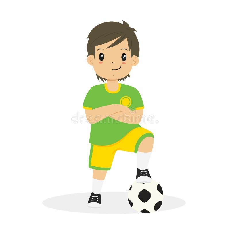 Pojke i vektor för gräsplan- och gulingfotbollJersey tecknad film royaltyfri illustrationer