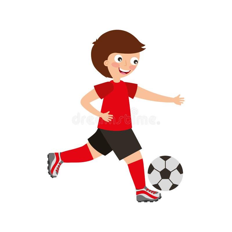 pojke little leka fotboll royaltyfri illustrationer
