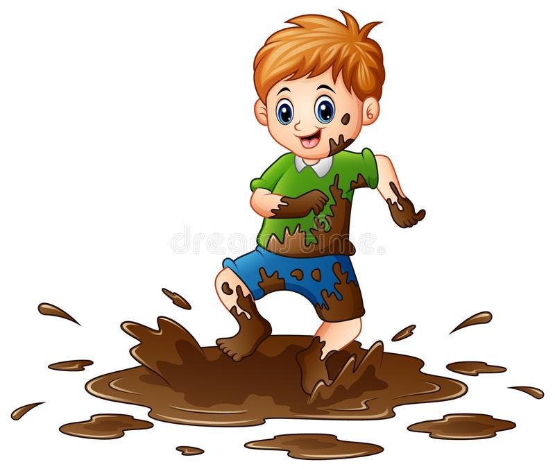 pojke little leka för mud stock illustrationer