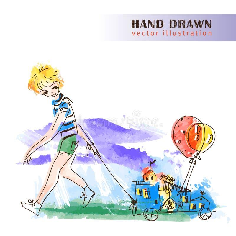 Pojke med ballonger. vektor illustrationer