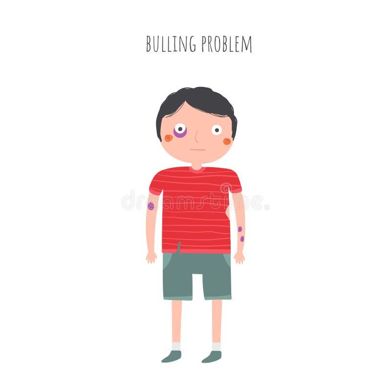 Pojke med blåmärken på kroppen, blåtira, sönderriven kläder, når att ha slagits vektor illustrationer