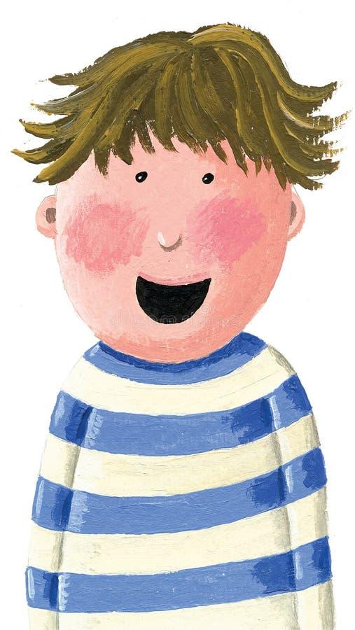 Pojke med brunt skratta för hår royaltyfri illustrationer