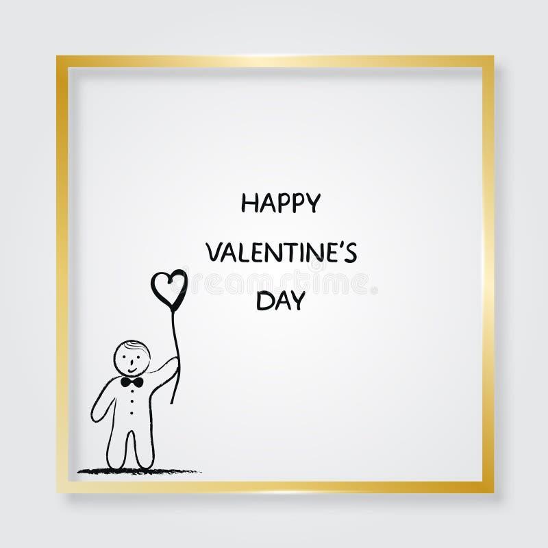Pojke med den hjärta formade ballongen guld- ram illustration s för hjärta för green för dreamstime för kortdagdesignen stylized  stock illustrationer
