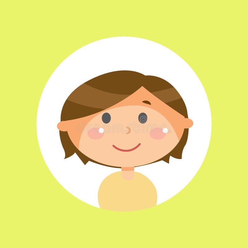 Pojke med den långa bruna hår-, barn- eller ungeavataren stock illustrationer