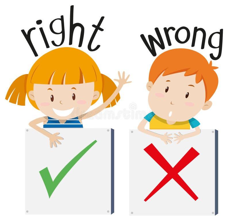 Pojke med det fel tecknet och flicka med det högra tecknet stock illustrationer