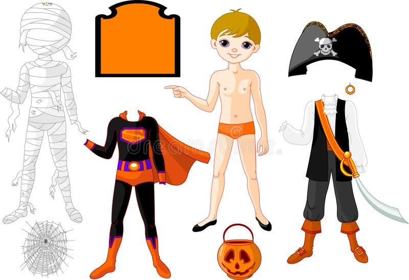 Pojke med dräkter för den Halloween deltagaren vektor illustrationer