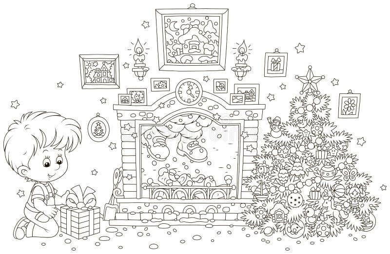 Pojke med en gåva och jultomten i en spis royaltyfri illustrationer