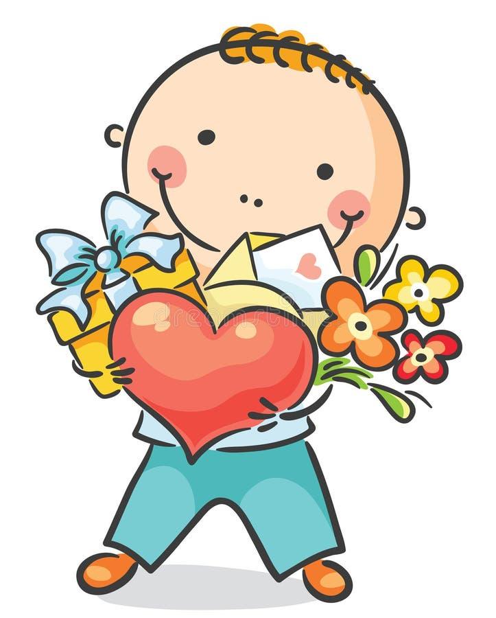 Pojke med en hjärta, blommor och gåva royaltyfri illustrationer
