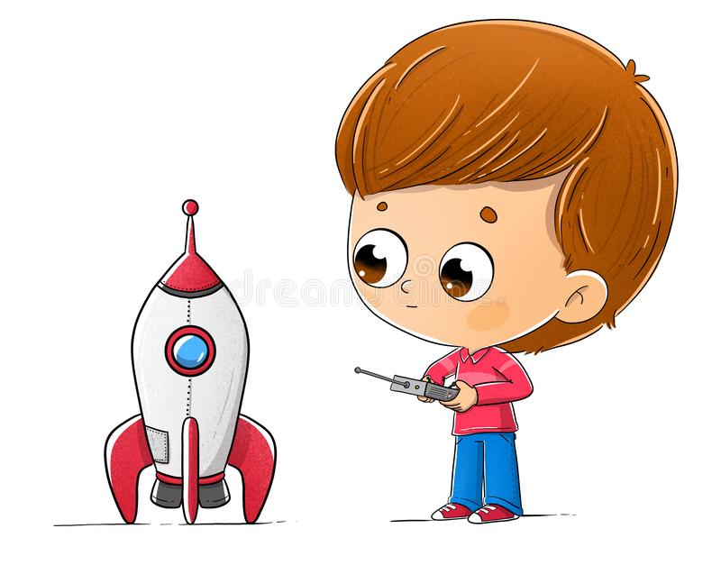 Pojke med en leksakraket vektor illustrationer