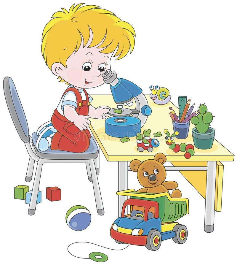 Pojke med ett mikroskop stock illustrationer