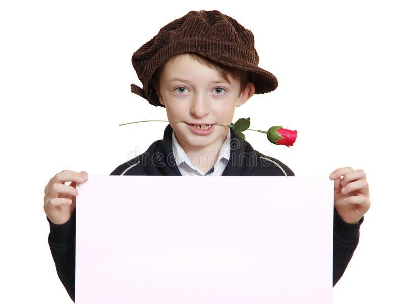 Pojke med ett vitt ark royaltyfri fotografi