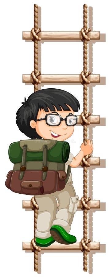 Pojke med exponeringsglas som upp klättrar stegen stock illustrationer