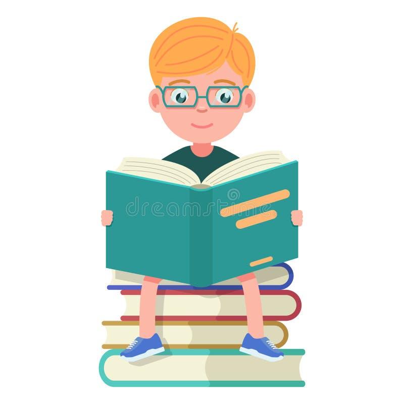 Pojke med exponeringsglasatt sitta och läseböcker vektor illustrationer
