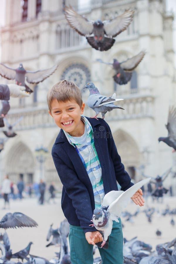 Pojke med fåglar nära den Notre Dame de Paris domkyrkan i Paris, Frankrike royaltyfria bilder