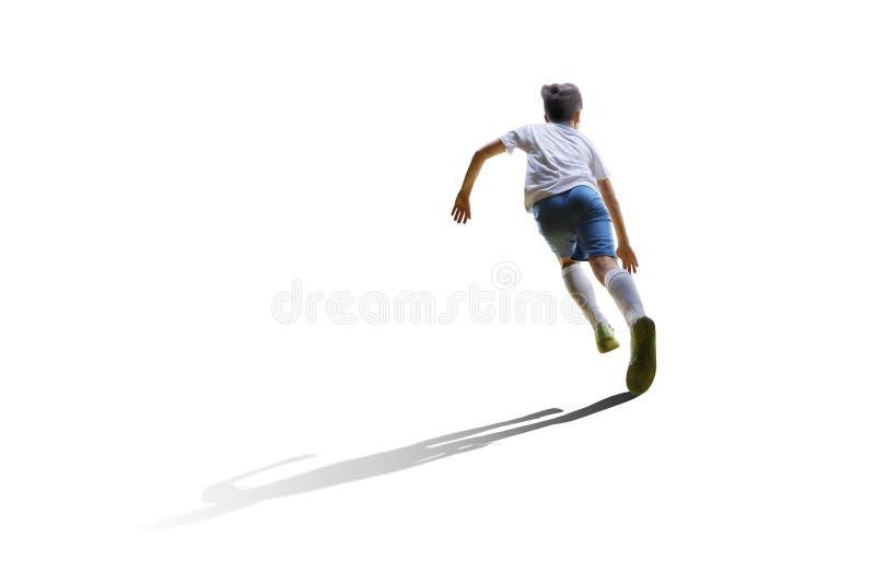 Pojke med fotbollbollen, fotbollsspelare på den vita bakgrunden isolerat royaltyfri foto