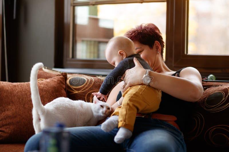 Pojke med hans mamma som spelar med den hemmastadda katten arkivfoto