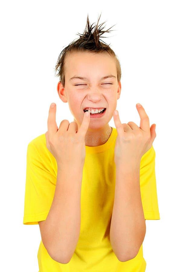 Pojke med Horns tecken royaltyfria foton