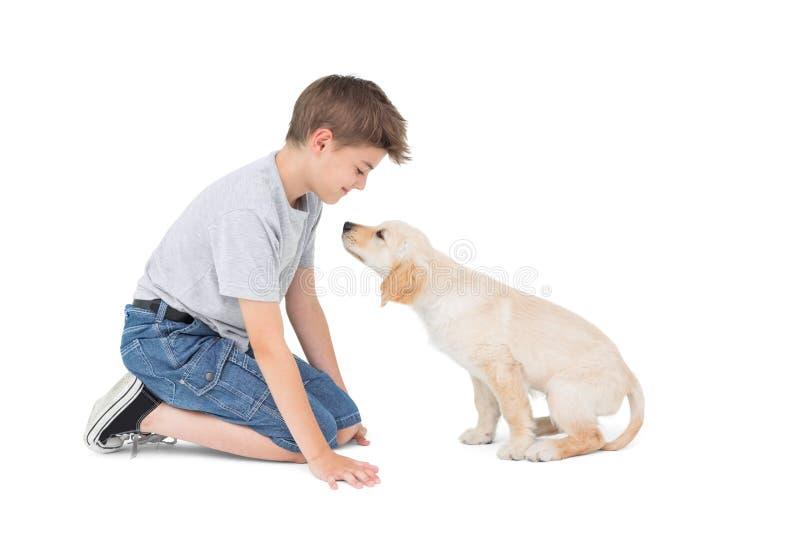 Pojke med hunden över vit bakgrund royaltyfri foto
