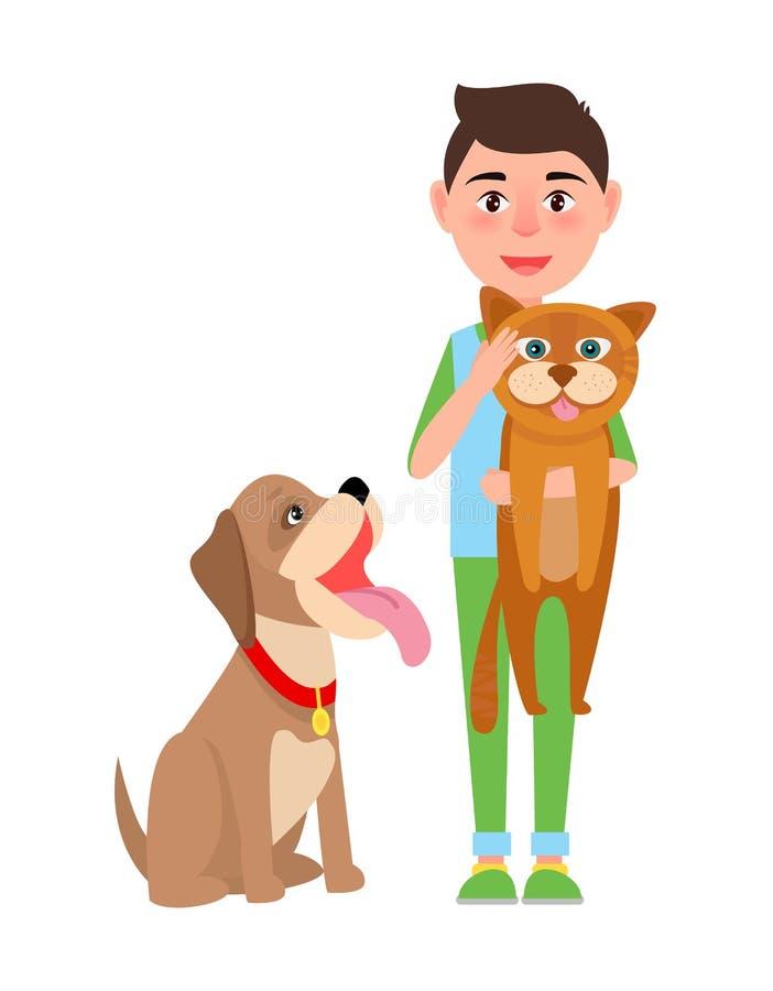 Pojke med illustrationen för katt- och hundaffischvektor vektor illustrationer