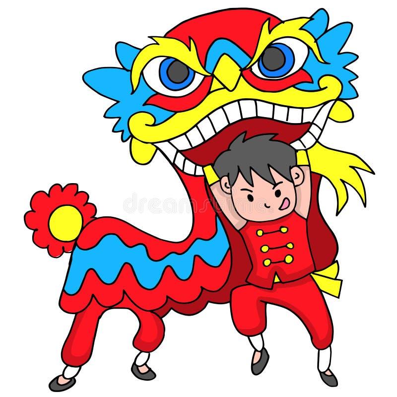 Pojke med Lion Dancing Traditional Celebration China royaltyfri illustrationer