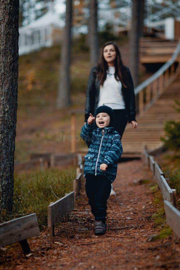 Pojke med modern på en gå i en pinjeskog royaltyfri fotografi
