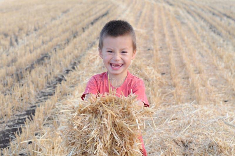 Pojke med packen av att le för hö royaltyfria bilder