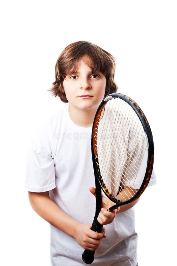 Pojke med racket royaltyfria foton