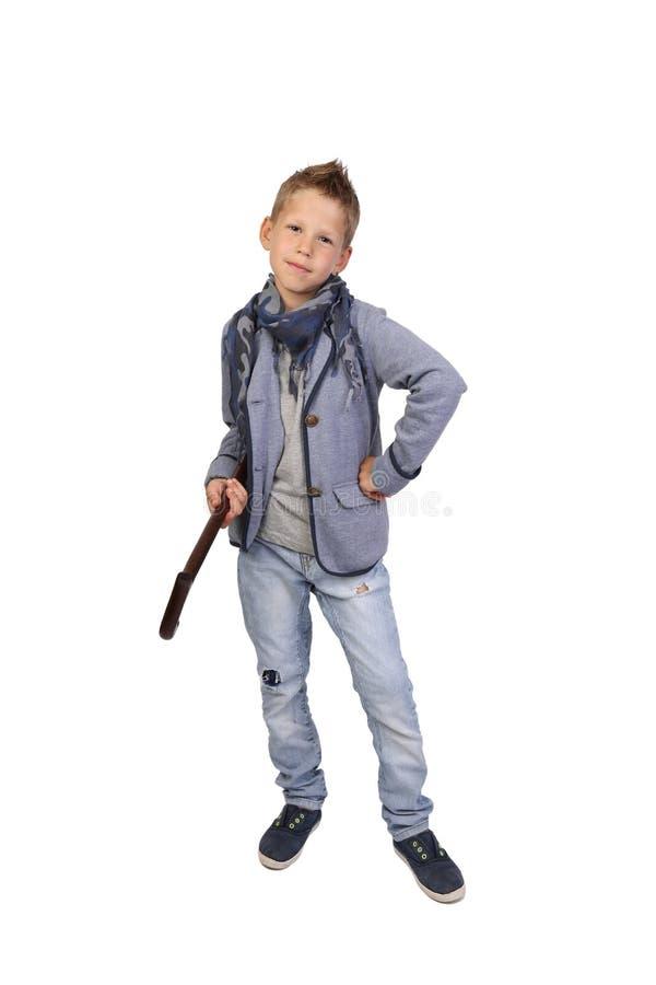 Pojke med rottingen royaltyfri fotografi