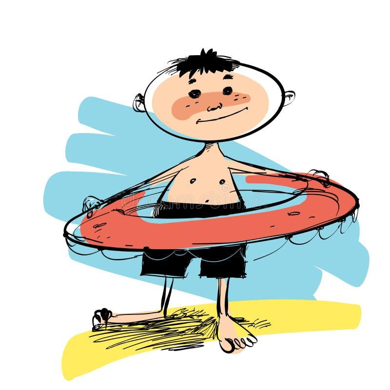 Pojke med simningcirkeln royaltyfri illustrationer