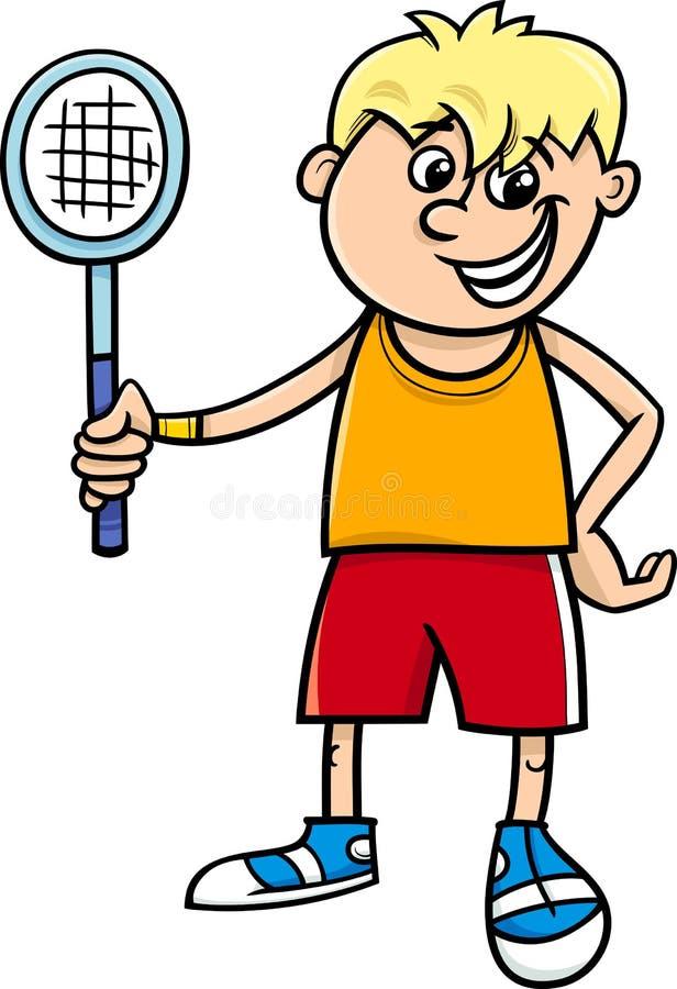 Pojke med tecknade filmen för tennisracket royaltyfri illustrationer