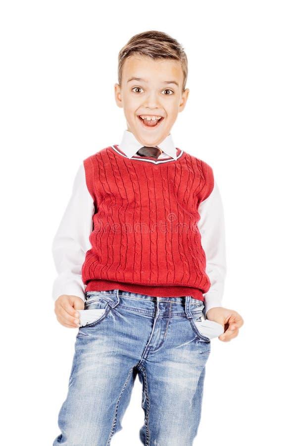 Pojke med tomma fack mot på vit studiobakgrund arkivfoton