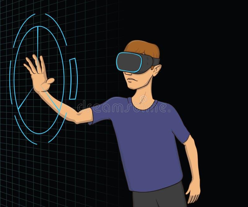 Pojke med VR-hörlurar med mikrofon som arbetar med den faktiska manöverenheten Virtuell verklighetbegrepp, VR för utbildning och  stock illustrationer