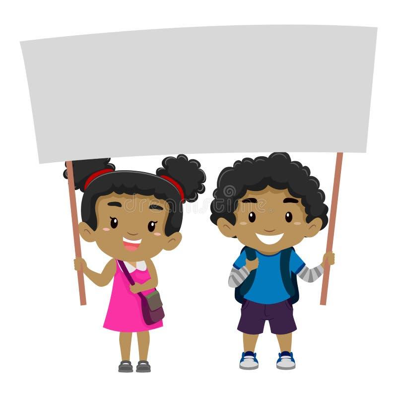Pojke och en flicka som rymmer en tom Signage royaltyfri illustrationer