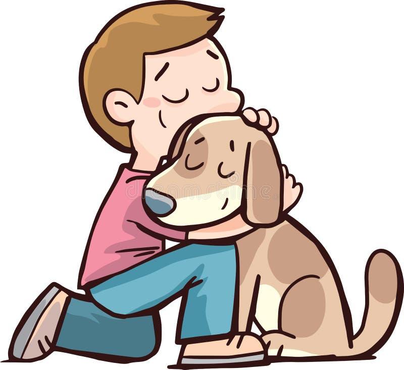 Pojke och en hund i en kram royaltyfri illustrationer