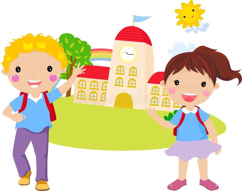 Pojke och flicka vektor illustrationer